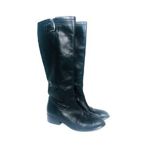 RALPH LAUREN Black Leather Heeled Riding Boot 7